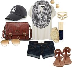 sweet hat...but seriously, where do i get this bag?!?! summer casual baseball game outfit, adorable.