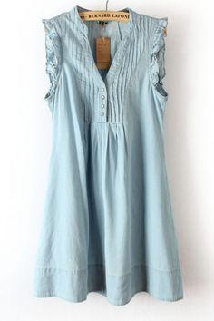 Blue V-neck Pleat Dress
