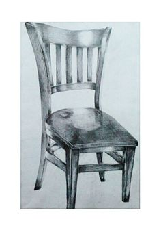 Simple Pencil drawing of a wooden chair