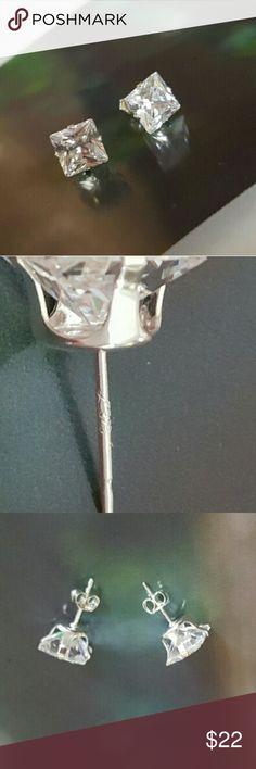 JUST IN: 925 CZ 8mm stud earrings NWOT 925 Sterling Silver clear CZ stud earrings. 8mm in size, almost 1cm! These earrings sparkle ! Princess cut. NWOT. Jewelry Earrings
