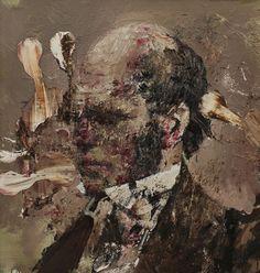 Adrian Ghenie, Charles Darwin as a Young Man, oil on canvas , 45 cm x 43 cm