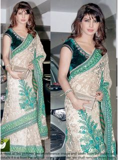 Priyanka Chopra Brasso Work White Bollywood Saree  www.angelnx.com