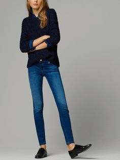 SKINNY JEANS WITH LEATHER TRIMMING