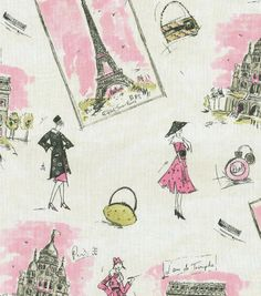 Waverly Upholstery Fabric-Tres Chic Black Pink