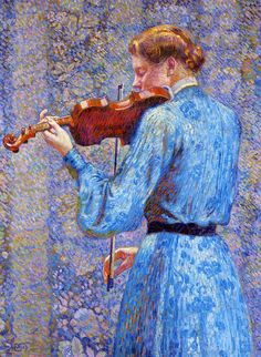 Theo van Rysselberghe (1862-1926), The Violinist (1903), oil on canvas, 73.7 x 100.3 cm. Via WikiArt.