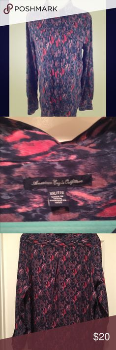 AE outfitters print button up XXL Beautiful purple and pink print button up top in excellent condition! Never been worn, washed once to keep it fresh. Has no signs of wear and no damage! American Eagle Outfitters Tops Button Down Shirts