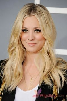 Blonde layered hairstyle from Kaley Cuoco Blonde Wigs for Women