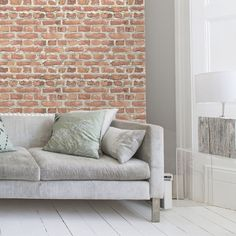I Love Wallpaper™ Warehouse Photographic Brick Effect Wallpaper Red (ILW261461)