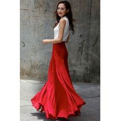 Sexy Maxi Skirt Floor Length Linen Skirt in Wine Red - NC717