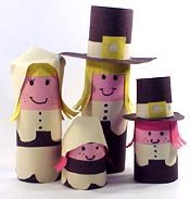 Pilgrims out of toilet paper rolls! Easy Thanksgiving Crafts, Thanksgiving Preschool, Thanksgiving Centerpieces, Fall Crafts, Holiday Crafts, Paper Towel Roll Crafts, Paper Plate Crafts, Art For Kids, Crafts For Kids