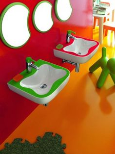 Colorful kids bathroom.