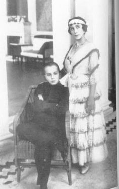 Mathilde Kschessinska with her son Vova. No one knew which of the two grand dukes, Sergei Michaelovich or Andrei Vladimirovich, was the father. Andrei eventually adoped him. Nicholas ennobled Vova as His Serene Highness Prince Romanovsky-Krasinsky.