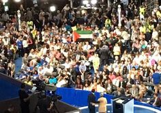 Palestinian Authority flag is raised by Florida delegation during platform vote at 2016 Democratic National Convention in Philadelphia ... Palestinian Authority Activists Campaign at the DNC