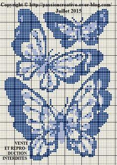 Grille gratuite point de croix : Trio de papillons bleus - Le blog de Isabelle