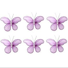 Butterfly Decor 2 Purple Lavender Mini XSmall Glitter Nylon Mesh Butterflies 6 Piece Decorations Set Decorate Baby Nursery Bedroom Girls Room Wall Wedding Birthday Party Shower Crafts Scrapbooks DIY ** Be sure to check out this awesome product.
