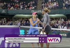 2014 Family Circle Cup, Rd 2: Unseeded Jana Cepelova upsets an injured Defending Champion, Serena Williams, but Jana just happy for the win. 4/1/14 #FCC2014  <3 #RenasArmy