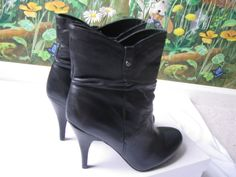 Guess Black Leather Fashion Ankle Heels Boots SZ 9.5 M NEW #GUESS #AnkleBoots