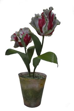 White and Red Parrot Tulip.  Porcelain Flowers and pot.   Tole leaves and stems.  Approximately 11 inches by 5inches. Created by Vieuxtemps Porcelain