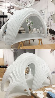 Pleated shell... 1/15 scale structural model www.theverymany.com Parametric Architecture, Pavilion Architecture, Parametric Design, Organic Architecture, Futuristic Architecture, Art And Architecture, Architecture Diagrams, Architecture Portfolio, Parametrisches Design