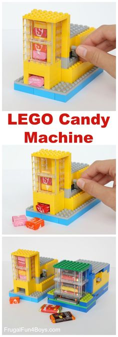 How to Build a LEGO® Candy Machine - Dispense One Candy at a Time! Building instructions in the post.