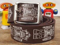 Robot Print Belt, Leather Belt, Leather Belt Men, Leather Belts for Men, Robot, gift for men, fathers day gift, mens gift, personalized mens