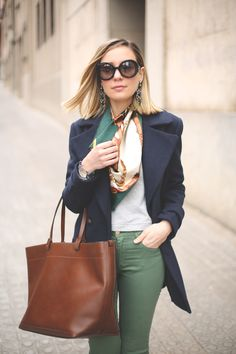 Neutral color combos: navy, green, and brown