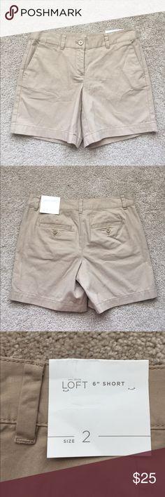 "NWT Loft beige shorts sz 2 Brand new dark beige 6"" shorts ! Waist measures 15"" and length is 14.5"" LOFT Shorts"