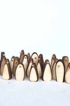3 penguin figures, wood wooden penguins handmade Walnut and maple. all are about 1 wide each is handmade: exact shapes will vary also available with string as christmas ornaments Lathe Projects, Wood Turning Projects, Diy Wood Projects, Woodworking Plans, Woodworking Projects, Wooden Animals, Wood Lathe, Wooden Crafts, Wood Toys