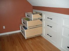 Awesome idea for rooms and attics that need to conserve space.