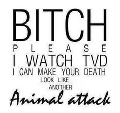 Bitch please. I watch the vampire diaries. I can make your death look like another animal attack. Vampire Diaries Memes, Vampire Diaries Damon, Serie The Vampire Diaries, Vampire Diaries Poster, Vampire Daries, Vampire Diaries Wallpaper, Vampire Diaries The Originals, Daimon Salvatore, Tvd Quotes