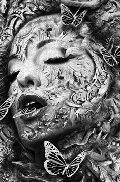 """Nicolas Obery's """"Fantasmagorik"""" Illustration Series - French illustrator and designer Nicolas Obery works with deep contrasts and haunting imagery for his monochromatic digital art series, """"Fantasmagorik."""" The finely textured, elaborate pi… - Dark Fantasy Art, Fantasy Kunst, Dark Art, Fantasy Artwork, Drawing Sketches, Art Drawings, Art Chicano, Art Du Croquis, Lowrider Art"""