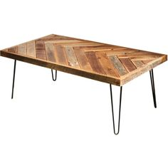 Herringbone Coffee Table With Hairpin Legs Repurposed Wood Barn Wood... ($305) ❤ liked on Polyvore featuring home, furniture, tables, accent tables, coffee & end tables, home & living, living room furniture, pink, wooden end tables and wood coffee table