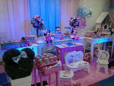 decoração minnie azul e rosa - Pesquisa Google