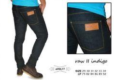 APRIL77 RAW II INDIGO SKINNY  harga eceran : Rp. 140.000 / celana (1 -2 pcs) harga grosir Rp 120.000 /celana (3 pcs atau lebih) belum termasuk ongkir APRIL77 RAW II INDIGO skinny By Rianshop:  Bahandenim jeans Ukuran 29-34 Kualitas kw super APRIL77 RAW II INDIGO skinny Pemesanan via SMS Anda dapat melakukan pemesanan melalui SMS dengan format sebagai berikut:  Nama | Alamat Lengkap | Produk Yang Dipesan | Jumlah Pesanan  kirim ke 085701111960