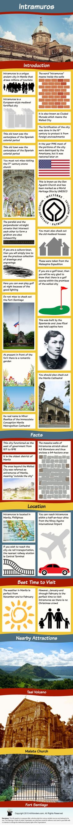 Intramuros Infographic showing Facts and Information about the ancient city in Manila , Philippines. Know about its Location, attractions, best time to visit and more.