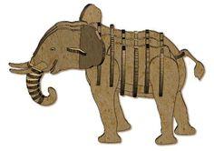 quebra cabeça 3d elefante em mdf 32 peças - usital