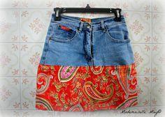 Création couture: jean recyclé en jupe