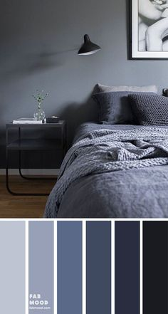 Bedroom color scheme ideas will help you to add harmonious shades to your home which give variety and feelings of calm. From beautiful wall colors& Source by The post Dark Blue Grey Bedroom Color appeared first on Rosa Home Decor. Grey Colour Scheme Bedroom, Blue Bedroom Colors, Dark Gray Bedroom, Dark Blue Bedrooms, Gray Bedroom Walls, Blue Rooms, Home Bedroom, Modern Bedroom, Calming Bedroom Colors