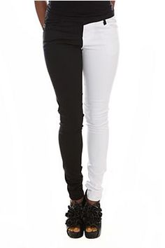dman you hot topic. i dont want to like your stuff but seriously? hot. Tripp Black And White Split Leg Skinny Jeans.