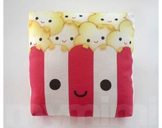 """Decorative Pillow, Popcorn Pillow, Movie Night, Party Favor, Red and White, Kawaii, Cushion, Dorm Decor, Room Decor, Childrens Toys, 7 x 7"""""""