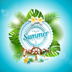 Buy Vector Enjoy the Summer Holiday Typographic by articular on GraphicRiver. Vector Enjoy the Summer Holiday typographic illustration on white badge and tropical plants background. Flower Background Images, Plant Background, Flower Backgrounds, Simple Poster, Flower Ball, Summer Design, Sale Banner, Advertising Photography, Background Templates
