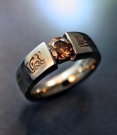 Chris Sklba is an amazing artist. Unique Diamond Rings, Unique Rings, Diamond Jewellery, Unique Jewelry, Bracelet Designs, Ring Designs, Harley Davidson Jewelry, Wedding Jewellery Inspiration, Cool Rings For Men