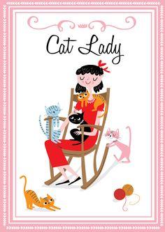 CAT LADY ART, Print, Giclee. Cat Wall Art. by nilaayeshop on Etsy