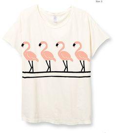 Womens Boho Vintage FLAMINGO Shirt Beach Ocean Trendy Shirt Tee Top Bohemian Vintage Retro Cotton Fashion Short Sleeve Tshirt S M L XL