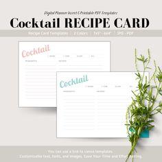 Cocktail Recipe Card, Digital Planner Insert, Printable Recipe Card Printable Recipe Cards, Printable Stickers, Printable Planner, Planner Stickers, Printables, Work Planner, Happy Planner, Time Management Planner, Cooking Cream