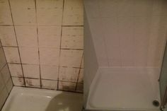Photo Gallery of Completed Cleaning Jobs - VitaClean - Before an after shot of a shower cuble we have cleaned visit http://www.vita-clean.co.uk