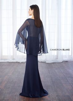 Shining Silk-like Chiffon & Acetate Satin Bateau Neckline Cape-sleeves Sheath/Column Mother Of The Bride Dresses With Beaded Lace Appliques Mother Of The Groom Gowns, Mother Of The Bride, Navy Prom Dresses, Wedding Dresses, Beautiful Dresses, Nice Dresses, Trumpet Dress, Mothers Dresses, Chiffon