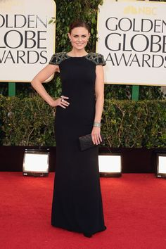 Emily Deschanel on the Golden Globes Red Carpet 2013