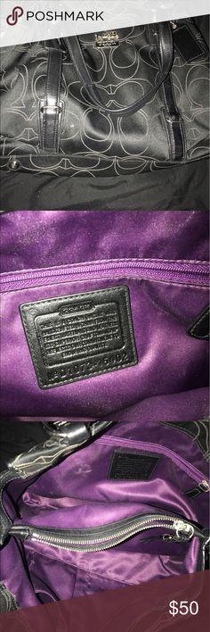 Coach Handbag Gorgeous Coach Handbag. Medium Sized. Black with deep purple inside. Authentic. Coach Bags Shoulder Bags