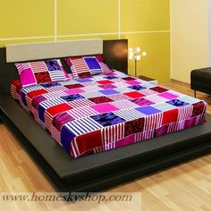 Cara Double Bed Designer Bed Sheet  One Double Bed Sheet with Two matching pillow covers. This Bright and unique bedsheet will add elegance and life to your bedroom.